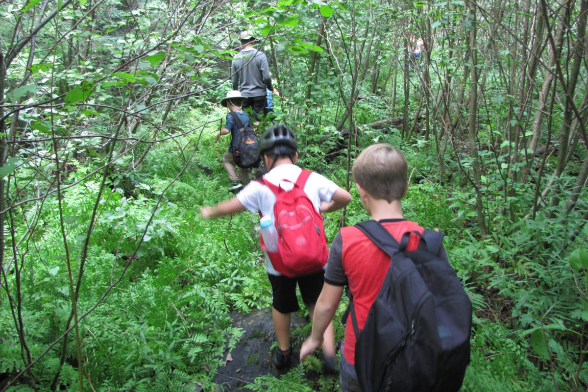 Campers going on a hike.